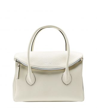 The Carina Italian Leather Organiser Grab in pearl white | OSPREY LONDON