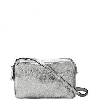 The Andorra Italian Leather Convertable Cross-Body in metallic silver | OSPREY LONDON