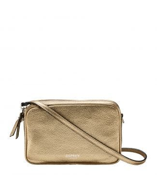 The Andorra Italian Leather Cross-Body in metallic gold | OSPREY LONDON