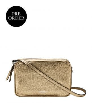 The Andorra Italian Leather Cross-Body in metallic gold