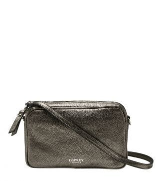 The Andorra Italian Leather Cross-Body in metallic bronze | OSPREY LONDON