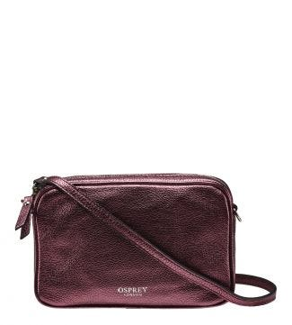 The Andorra Italian Leather Cross-Body in metallic grape | OSPREY LONDON