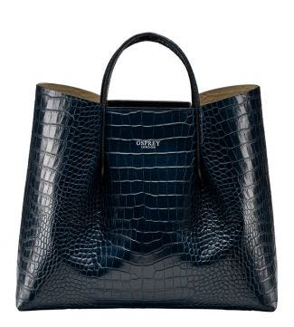 The Luna Italian Leather Workbag in petrol blue | OSPREY LONDON