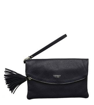 The Carina Curve Italian Leather Tassel Clutch in midnight blue | OSPREY LONDON