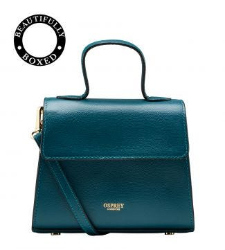 The Rainbow Leather Grab in teal| OSPREY LONDON