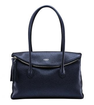 The Carina Italian Leather Workbag in metallic ocean blue |OSPREY LONDON
