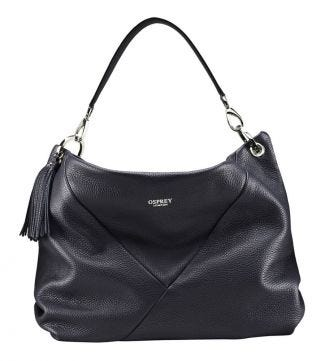The Carina Italian Leather Hobo bag in midnight blue | OSPREY LONDON
