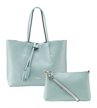 The Portofino 3-in-1 Italian Leather Tote in mint green | OSPREY LONDON
