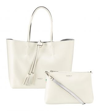 The Portofino 3-in-1 Italian Leather Tote in pearl white | OSPREY LONDON