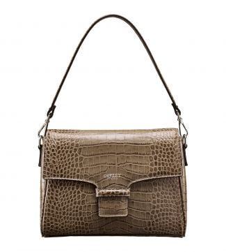 The Allegra Italian Leather Clutch/Shoulder Bag in taupe