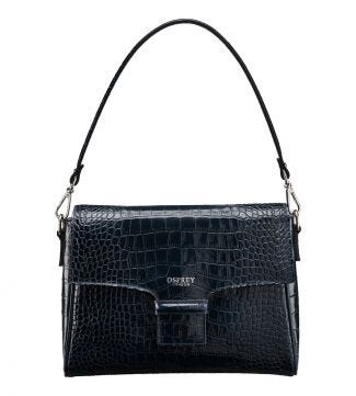 The Allegra Italian Leather Clutch/Shoulder Bag in petrol blue