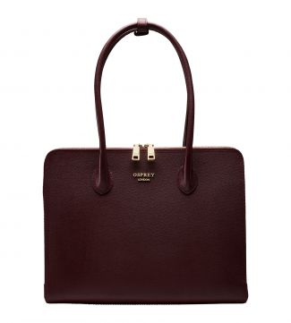 The Correspondent Leather Shoulder Workbag in burgundy