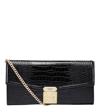 The Viola Leather Clutch Bag in black