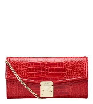 The Viola Leather Clutch Bag in red