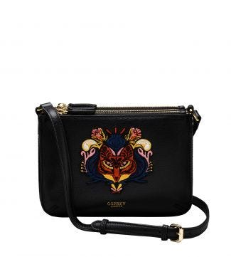 The Zelda Embroidered Fox Leather Cross-Body in black
