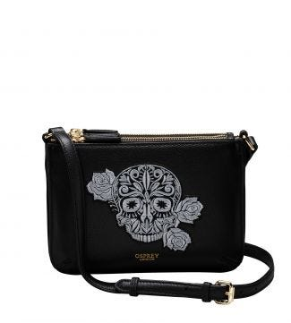 The Zelda Embroidered Skull Leather Cross-Body in black