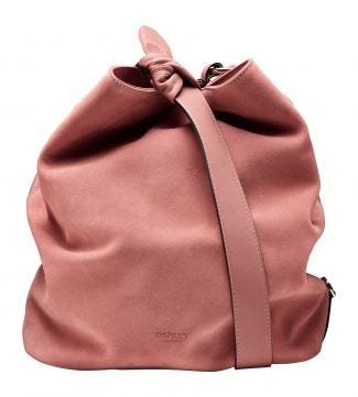 The Large Paloma Italian Leather & Suede Bucket Bag in blush pink