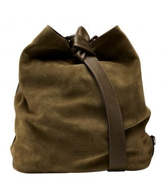 The Large Paloma Italian Leather & Suede Bucket Bag in olive green