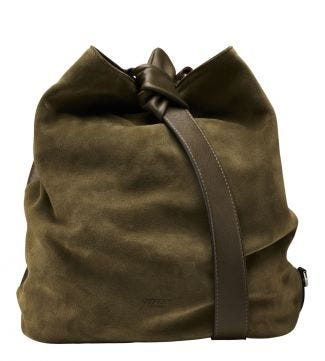 The Large Paloma Italian Leather Bucket Bag in olive green