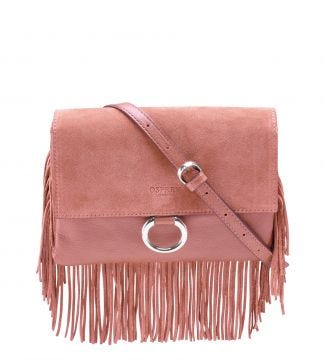The Alessia Italian Leather & Suede E/W Clutch & Cross-Body in blush pink