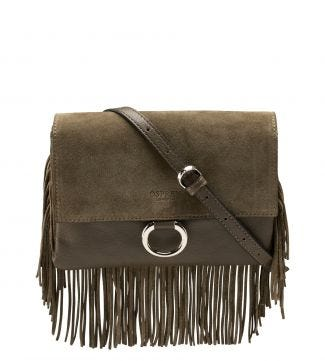 The Alessia Italian Leather & Suede E/W Clutch & Cross-Body in olive green
