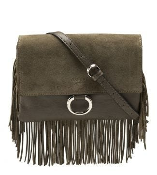 The Alessia Italian Leather E/W Clutch & Cross-Body in olive green