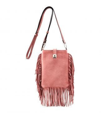 The Alessia Italian Suede Cross-Body in blush