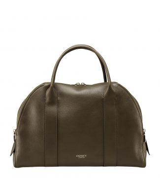 The Aria Italian Leather Workbag in olive green
