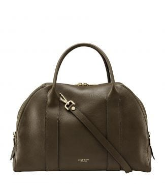 The Aria Italian Leather Workbag in olive green