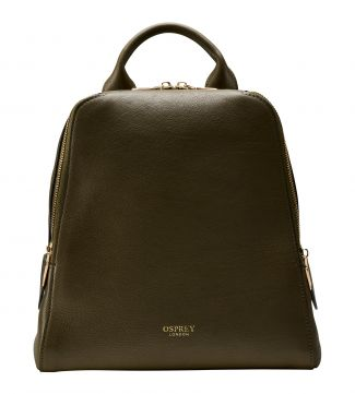 The Aria Italian Leather Backpack in olive green