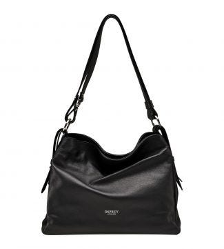 The Maria Italian Leather Cross-Body & Shoulder Bag in black | OSPREY LONDON