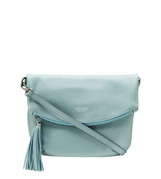 The Carina Italian Leather Medium Cross-Body in mint green | OSPREY LONDON