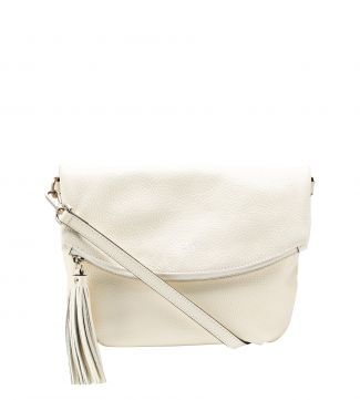 The Carina Italian Leather Medium Cross-Body in pearl white | OSPREY LONDON