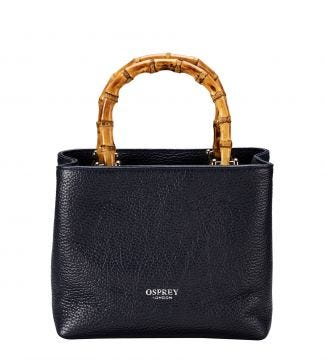 The Mini Clio Italian Leather Grab in midnight blue | OSPREY LONDON