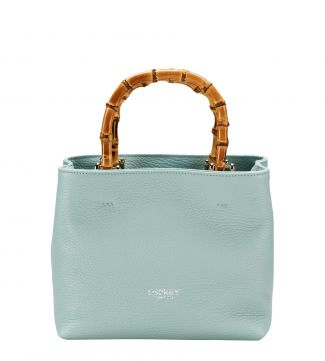The Mini Clio Italian Leather Grab in mint green | OSPREY LONDON