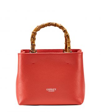 The Mini Clio Italian Leather Grab in papaya | OSPREY LONDON