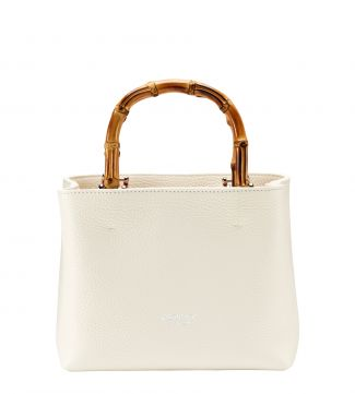 The Mini Clio Italian Leather Grab in pearl white | OSPREY LONDON