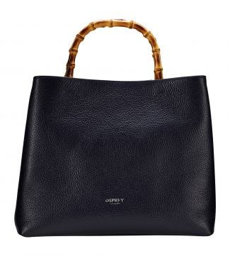 The Clio Italian Leather Grab in midnight blue | OSPREY LONDON