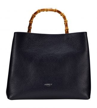 The Clio Italian Leather Grab in midnight blue | OSPREY LONDON