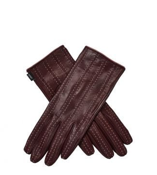 OSPREY LONDON The Antonia Bordeaux Leather Gloves.
