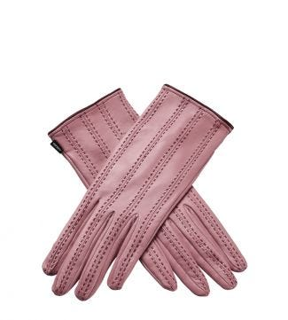 OSPREY LONDON The Antonia Pink Leather Gloves.