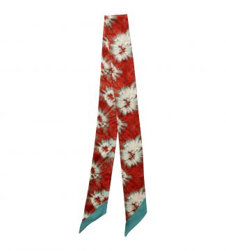 The Sabrina Skinny Italian Silk Tie in mint & papaya
