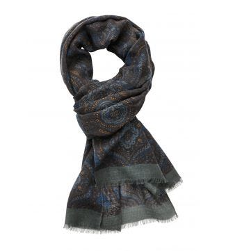 The Sheringham Paisley Wool Scarf in  Blue | OSPREY LONDON