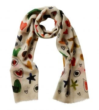 The Love & Stars Italian Wool Scarf in cream