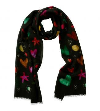 The Love & Stars Italian Wool Scarf in dark forest green