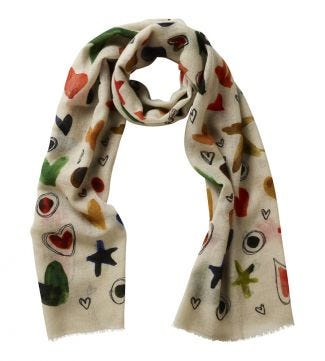 The Love & Stars Italian Wool Scarf in cream| OSPREY LONDON