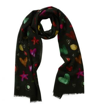 The Love & Stars Italian Wool Scarf in dark forest green | OSPREY LONDON