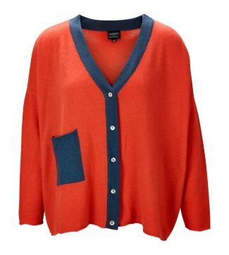 The Cocoon Cashmere Cardigan in coral & slate