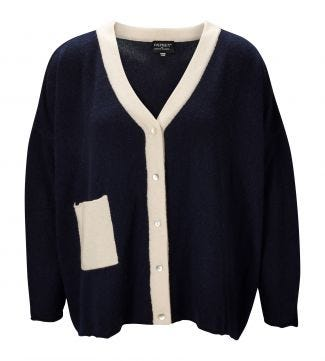 The Cocoon Cashmere Cardigan in navy & pearl