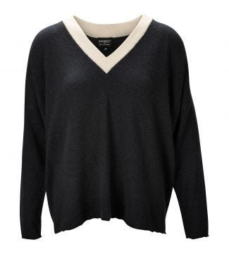 The Cocoon Cashmere Jumper in slate & pearl